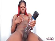Black Tgirls Jazmine Barbie Rock Hard Penis Pump
